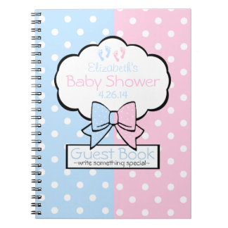 Pink and Blue Baby Shower Guest Book- Spiral Notebooks
