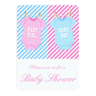 Pink and blue Baby Shower Invite Twins opt 1