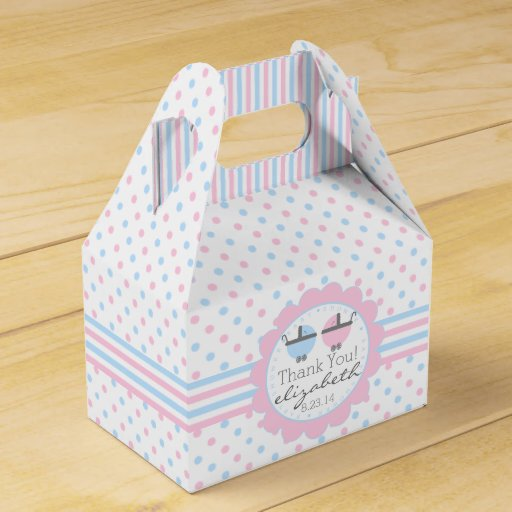 Blue Baby Shower Favor Boxes : Pink and blue baby shower wedding favor boxes zazzle