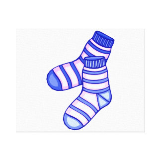 Pink and blue baby sock graphic canvas print