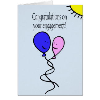 Pink and Blue Ballon Engagement Congratulations Card