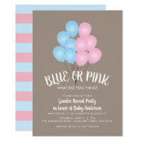 Pink and Blue Balloons Gender Reveal Party Card