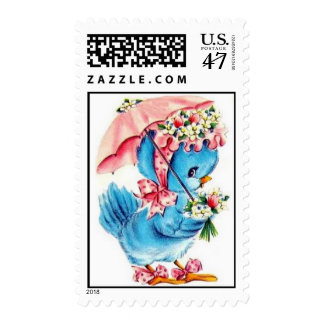 Pink and Blue Bird with Bonnet Vintage Postage Stamp