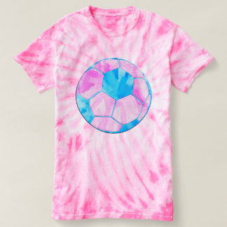 Pink and Blue Blue Soccer Ball Tie Dye T-shirt