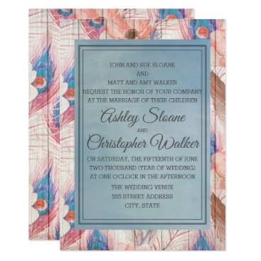 Wedding Themed Pink and Blue Boho Floral on White Wood Wedding Card