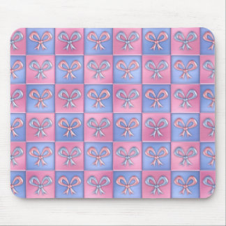 Pink and Blue Bows Mouse Pad
