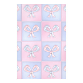 Pink and Blue Bows Personalized Stationery