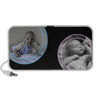 Pink and Blue Bubbles Photo Frame Portable Speakers