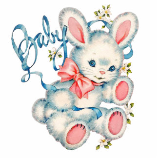 Pink and Blue Bunny Rabbit Baby Shower Statuette