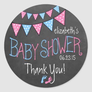 Pink and Blue Bunting Baby Shower Favor Classic Round Sticker