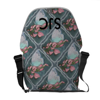 PINK AND BLUE BUTTERFLY COURIER BAG