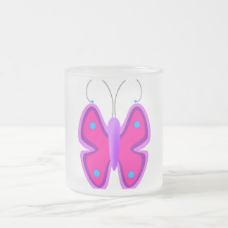 Pink and Blue Butterfly Frosted Glass Coffee Mug