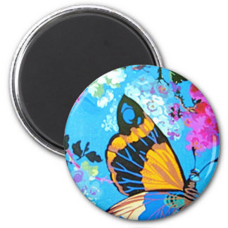 Pink and Blue Butterfly Line Refrigerator Magnet