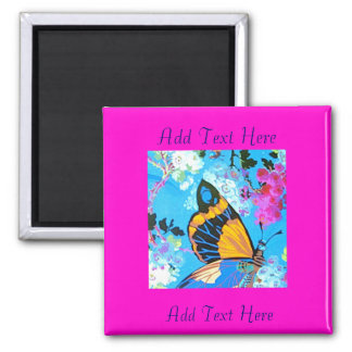 Pink and Blue Butterfly Magnet add text
