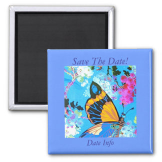 Pink and Blue Butterfly Magnet save the date