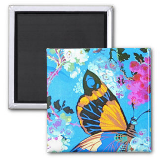 Pink and Blue Butterfly Magnet square