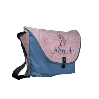 Pink and Blue Butterfly Personalized Girl's Diaper Courier Bag