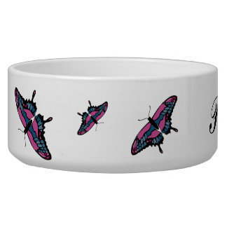 Pink and Blue Butterfly Pet Bowl