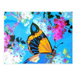 Pink and Blue Butterfly Post Card