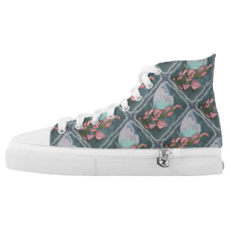 PINK AND BLUE BUTTERFLY PRINTED SHOES