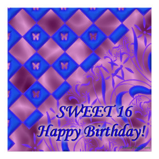 Pink and Blue Butterfly Sweet 16 Birthday Poster