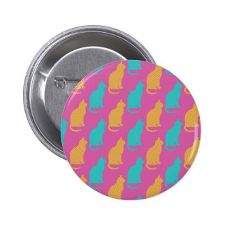 Pink and Blue Cat Pattern Design Pinback Button