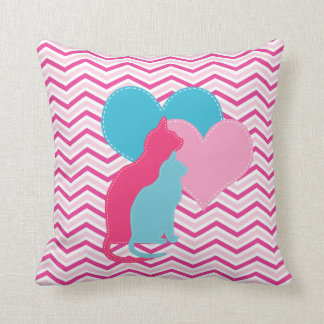Pink and Blue Cats on ChevronThrow Pillow