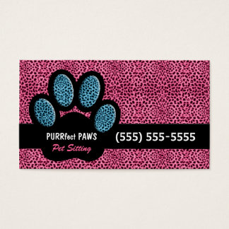 Pink and Blue Cheetah and Paw Pet Sitter Business Card