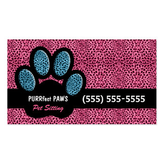 Pink and Blue Cheetah Print Custom Paw Pet Sitter Business Card Template