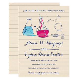 Pink and Blue Chemistry Rehearsal Dinner Invites
