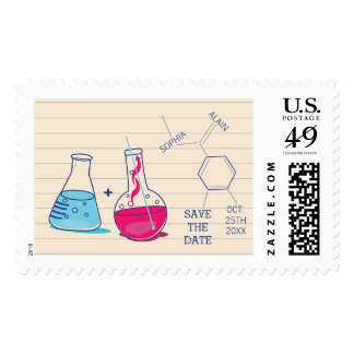 Pink and Blue Chemistry Save the Date Postage