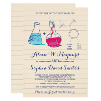 Pink and Blue Chemistry Wedding Invitations