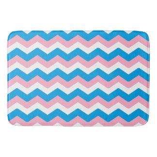 Pink and Blue Chevron Bathroom Mat