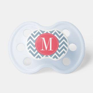 Pink and Blue Chevron Custom Monogram Baby Pacifiers