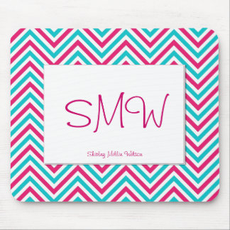 Pink and Blue Chevron Patterned Mouse Pad