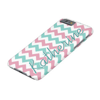 Pink and Blue Chevron Signature Barely There iPhone 6 Case