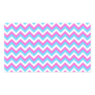 Pink and Blue Chevron Zig Zag Stripes. Business Card Templates