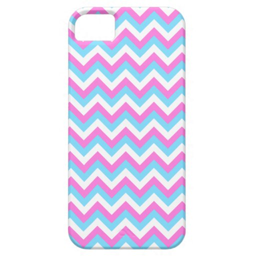 Pink and Blue Chevron Zig Zag Stripes. iPhone 5 Cases