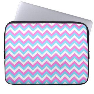 Pink and Blue Chevron Zig Zag Stripes. Computer Sleeve