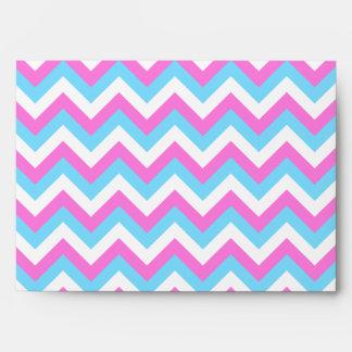 Pink and Blue Chevron Zig Zag Stripes. Envelope
