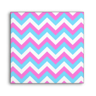 Pink and Blue Chevron Zig Zag Stripes. Envelope