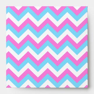 Pink and Blue Chevron Zig Zag Stripes. Envelopes