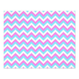 Pink and Blue Chevron Zig Zag Stripes. Flyer