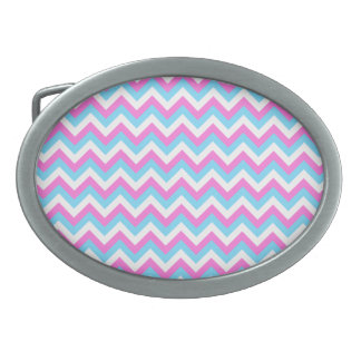 Pink and Blue Chevron Zig Zag Stripes. Oval Belt Buckles