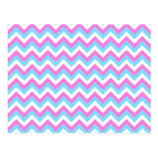 Pink and Blue Chevron Zig Zag Stripes. Postcards