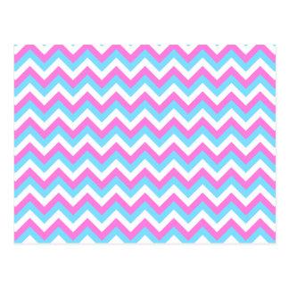 Pink and Blue Chevron Zig Zag Stripes. Postcard