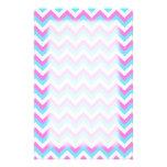 Pink and Blue Chevron Zig Zag Stripes. Stationery Paper