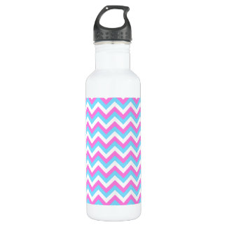 Pink and Blue Chevron Zig Zag Stripes. Water Bottle