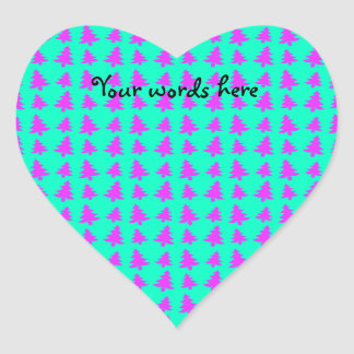 Pink and blue christmas trees pattern heart sticker
