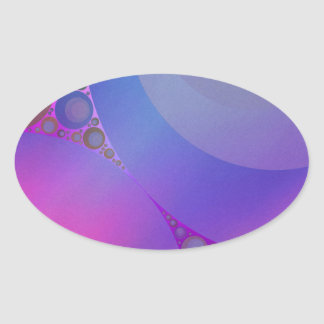 Pink and Blue Circles Mosaic Oval Sticker